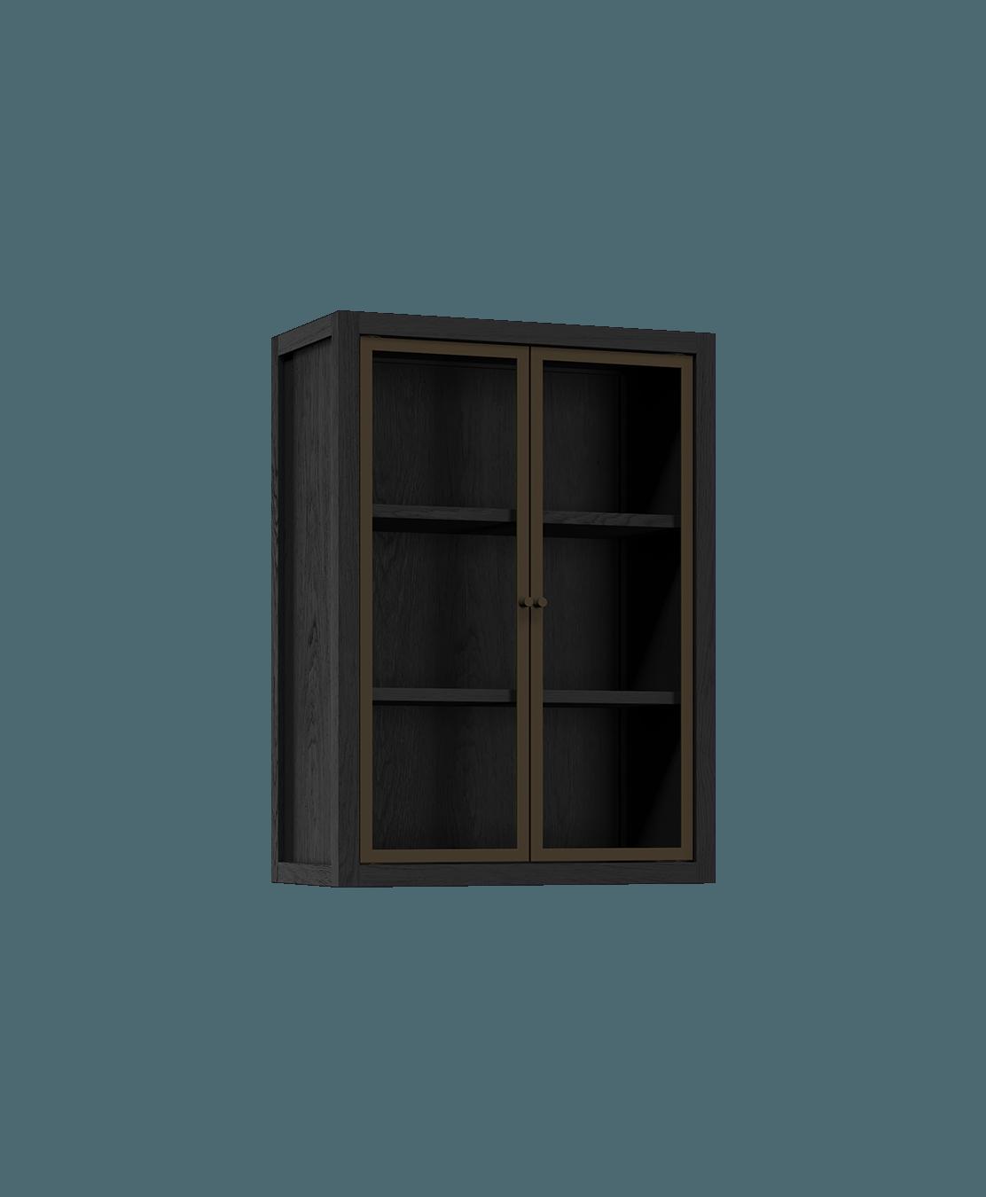 armoire de cuisine modulaire murale vitrée en bois massif coquo radix avec 2 portes en verre chêne teint noir nuit profonde 12 pouces C1-W-2412-0201-BK