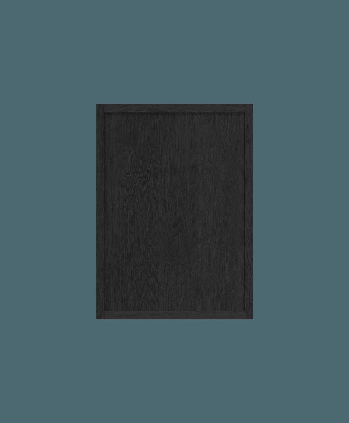 armoire de cuisine modulaire murale vitrée en bois massif coquo radix avec 2 portes en verre chêne teint noir nuit profonde 12 pouces C1-W-2412-0202-BK
