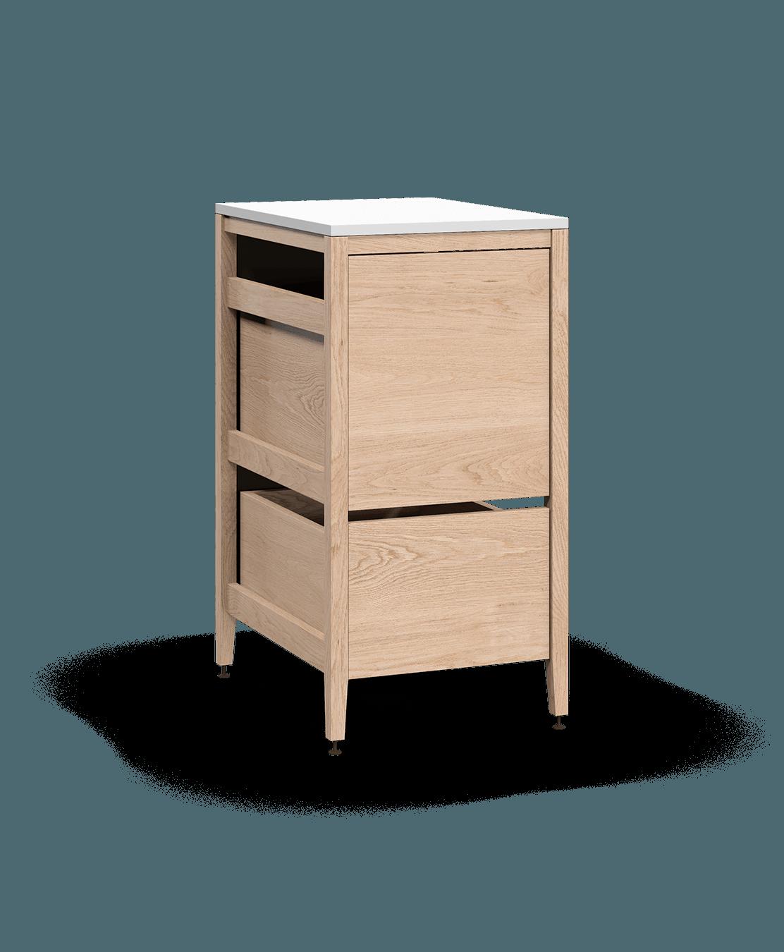 armoire de cuisine modulaire poubelle en bois massif coquo radix avec 1 tiroir 2 bacs chêne blanc 18 pouces C1-CTR-18TB-2001-NA