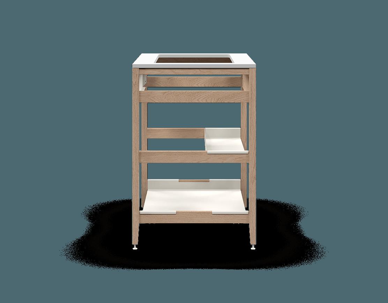 armoire de cuisine modulaire pour évier en bois massif coquo radix avec façade fixe 1 demi tablette chêne blanc 33 pouces C1-CSK-33SB-0033-NA