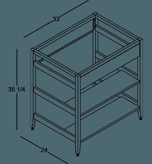 armoire de cuisine modulaire pour évier en bois massif coquo radix avec façade fixe 2 demi tablettes de bois chêne blanc 33 pouces C1-CSK-33SBW-004W3-NA