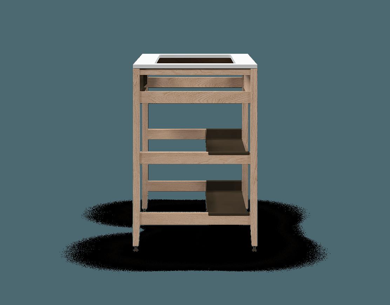armoire de cuisine modulaire pour évier en bois massif coquo radix avec façade fixe 2 demi tablettes chêne blanc 33 pouces C1-CSK-33SB-0041-NA