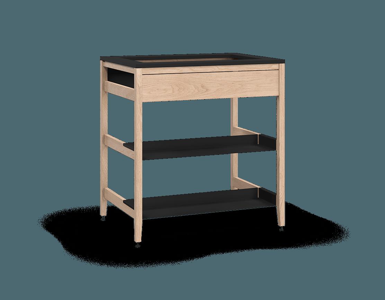 armoire de cuisine modulaire pour évier en bois massif coquo radix avec façade fixe 2 demi tablettes chêne blanc 33 pouces C1-CSK-33SB-0042-NA