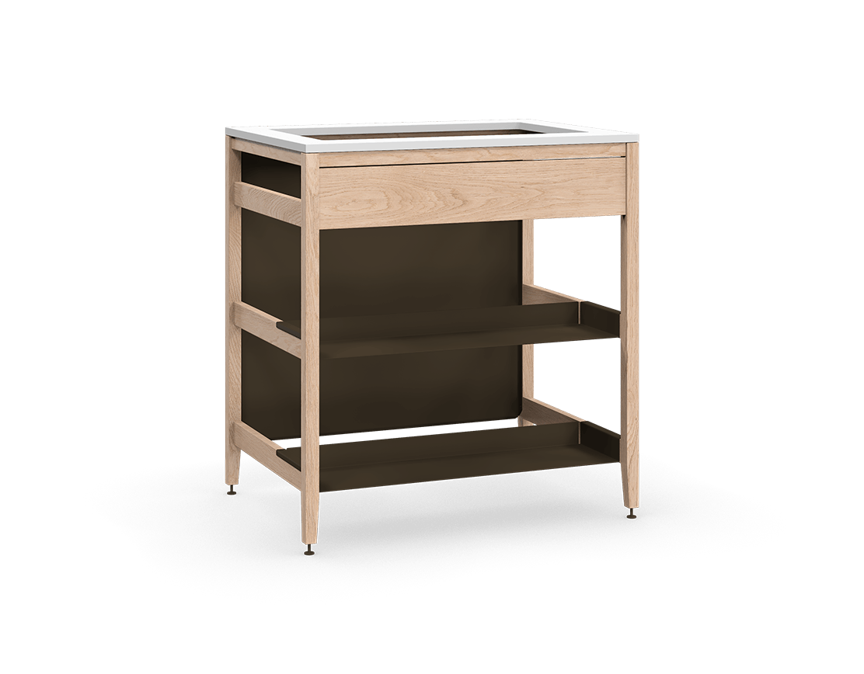 armoire de cuisine modulaire pour évier en bois massif coquo radix avec façade fixe 2 demi tablettes chêne blanc 33 pouces C1-CSK-33TB-0041-NA