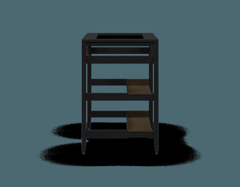 armoire de cuisine modulaire pour évier en bois massif coquo radix avec façade fixe 2 demi tablettes chêne teint noir nuit profonde 33 pouces C1-CSK-33SB-0041-BK