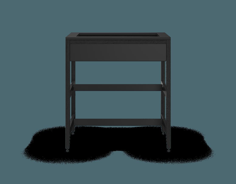 armoire de cuisine modulaire pour évier en bois massif coquo radix avec façade fixe 2 demi tablettes chêne teint noir nuit profonde 33 pouces C1-CSK-33SB-0042-BK