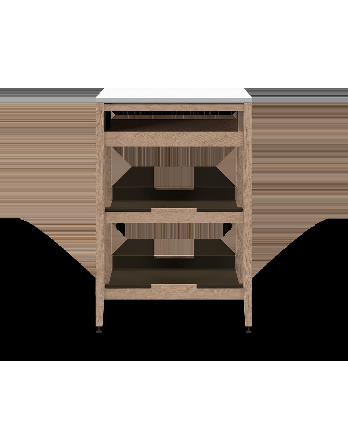 armoire de cuisine de coin modulaire inférieure en bois massif coquo radix avec 2 tablettes façade fixe chêne blanc 24 pouces C1-CC-24SB-0021-NA