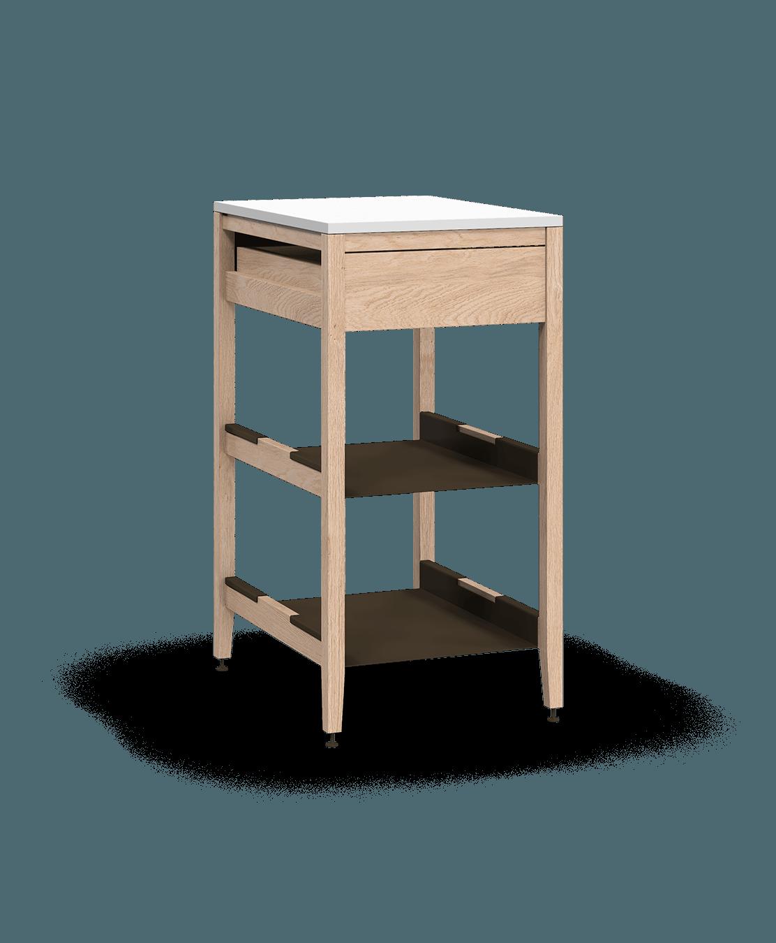 armoire de cuisine modulaire inférieure en bois massif coquo radix avec 2 tablettes 1 tiroir chêne blanc 18 pouces C1-C-18SB-1021-NA
