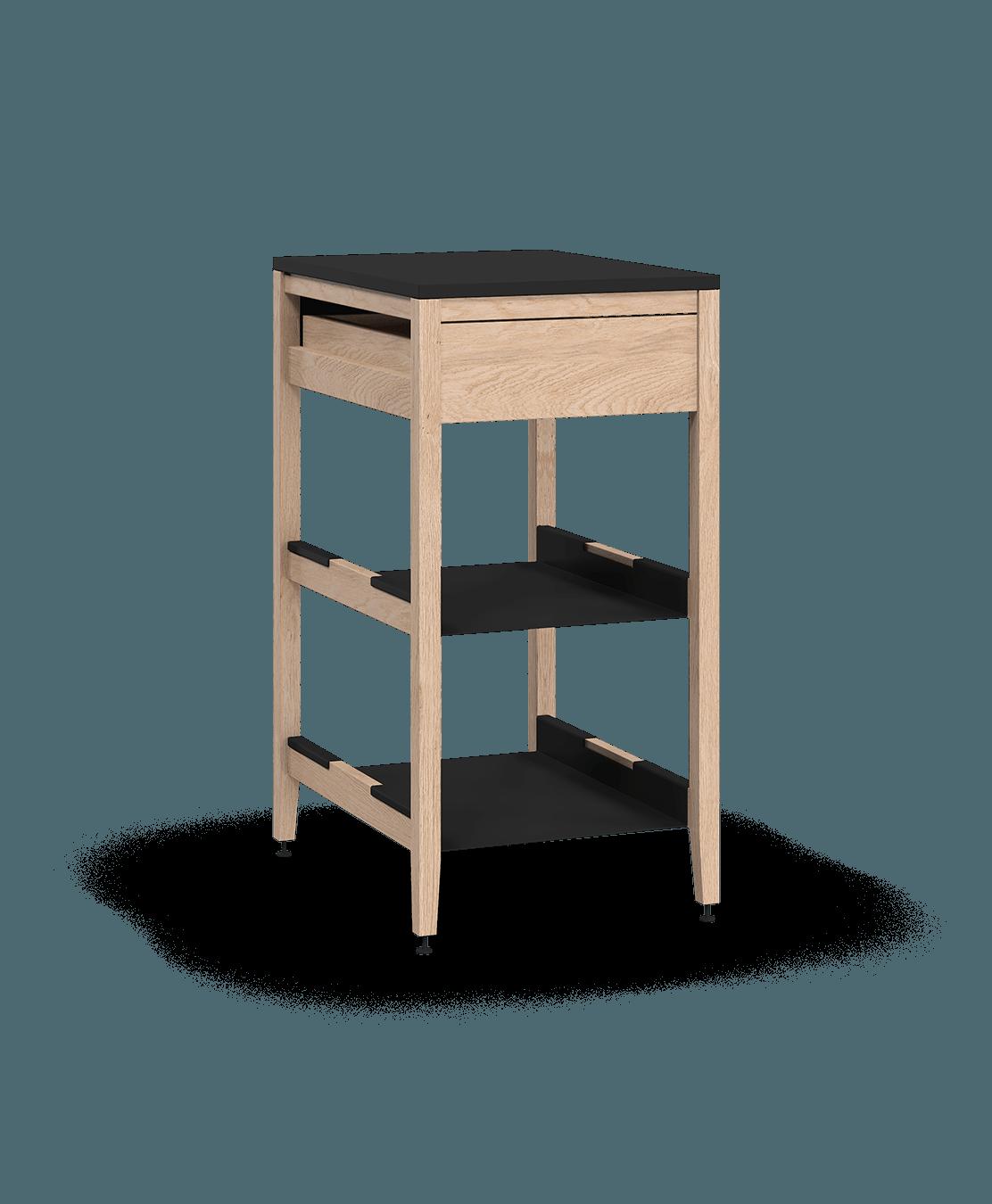 armoire de cuisine modulaire inférieure en bois massif coquo radix avec 2 tablettes 1 tiroir chêne blanc 21 pouces C1-C-21SB-1022-NA