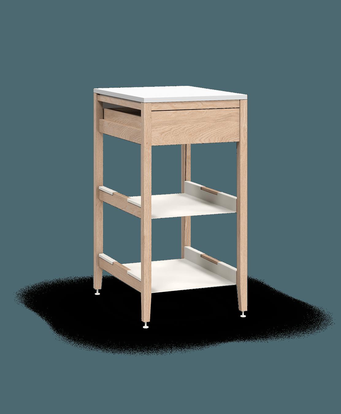 armoire de cuisine modulaire inférieure en bois massif coquo radix avec 2 tablettes 1 tiroir chêne blanc 21 pouces C1-C-21SB-1023-NA