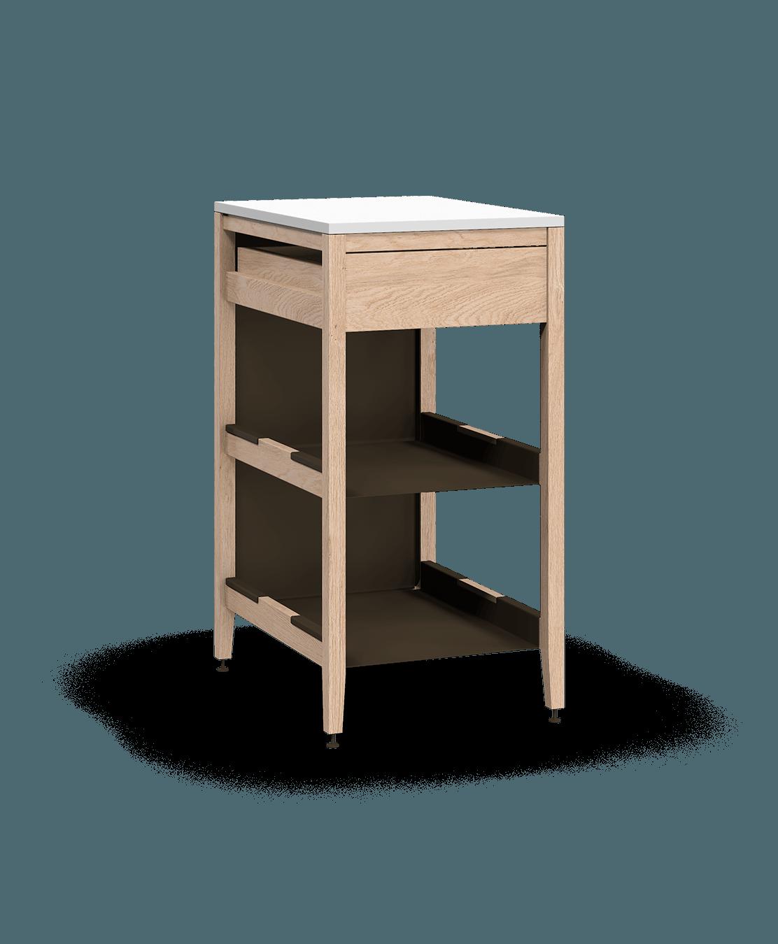 armoire de cuisine modulaire inférieure en bois massif coquo radix avec 2 tablettes 1 tiroir chêne blanc 21 pouces C1-C-21TB-1021-NA