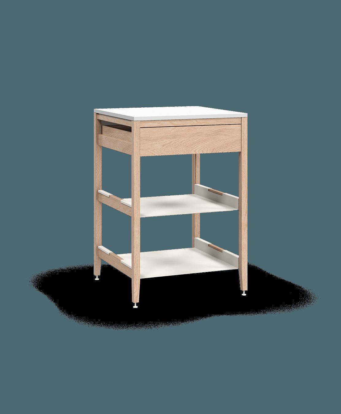 armoire de cuisine modulaire inférieure en bois massif coquo radix avec 2 tablettes 1 tiroir chêne blanc 24 pouces C1-C-24SB-1023-NA