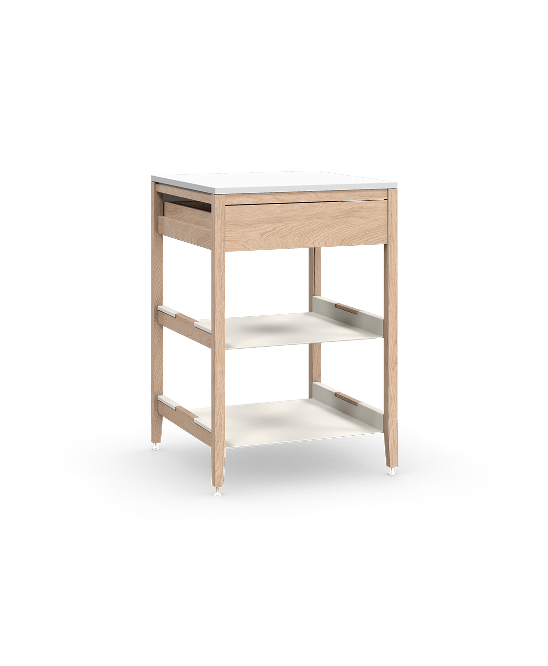 armoire de cuisine modulaire inférieure en bois massif coquo radix avec 2 tablettes 1 tiroir chêne blanc 27 pouces C1-C-27SB-1023-NA