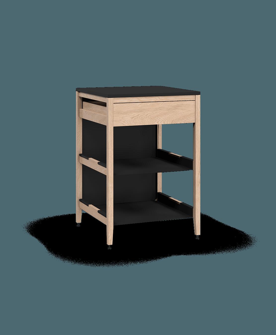 armoire de cuisine modulaire inférieure en bois massif coquo radix avec 2 tablettes 1 tiroir chêne blanc 27 pouces C1-C-27TB-1022-NA