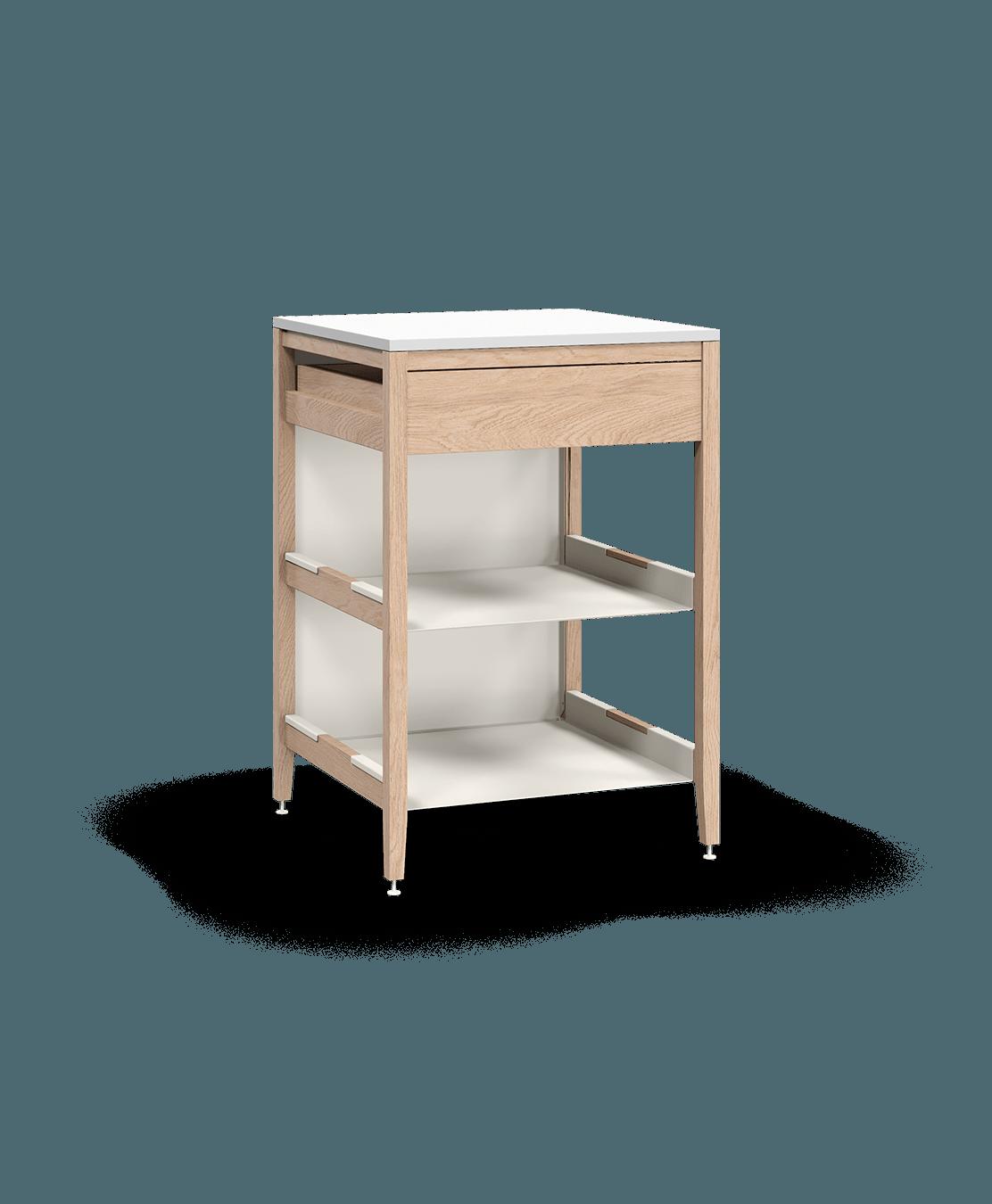 armoire de cuisine modulaire inférieure en bois massif coquo radix avec 2 tablettes 1 tiroir chêne blanc 27 pouces C1-C-27TB-1023-NA