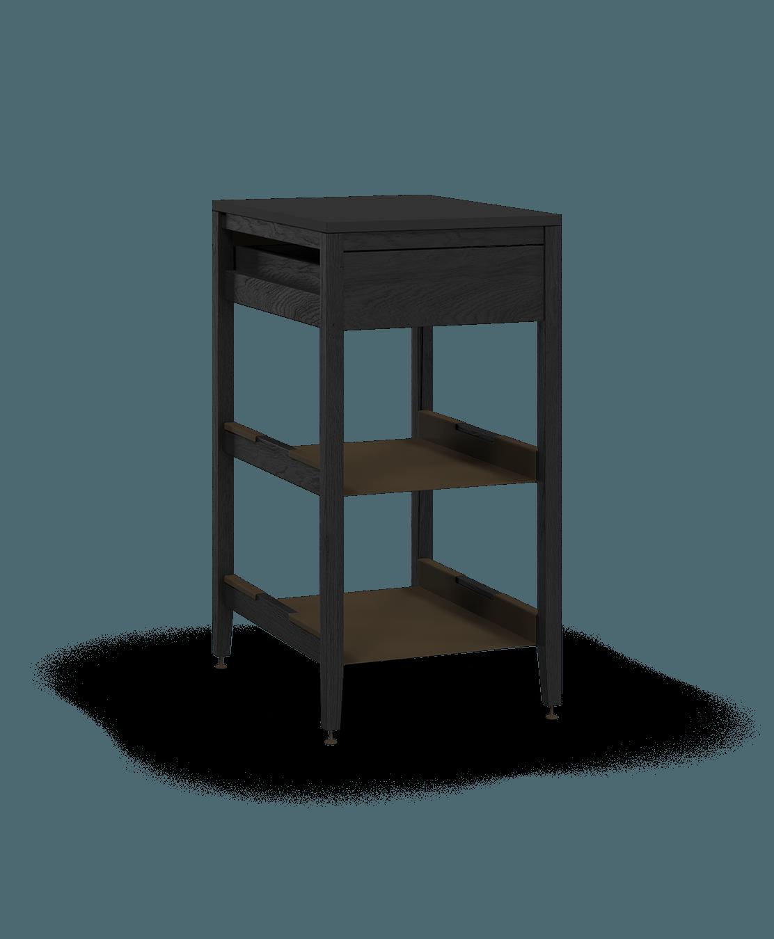 armoire de cuisine modulaire inférieure en bois massif coquo radix avec 2 tablettes 1 tiroir chêne teint noir nuit profonde 18 pouces C1-C-18SB-1021-BK