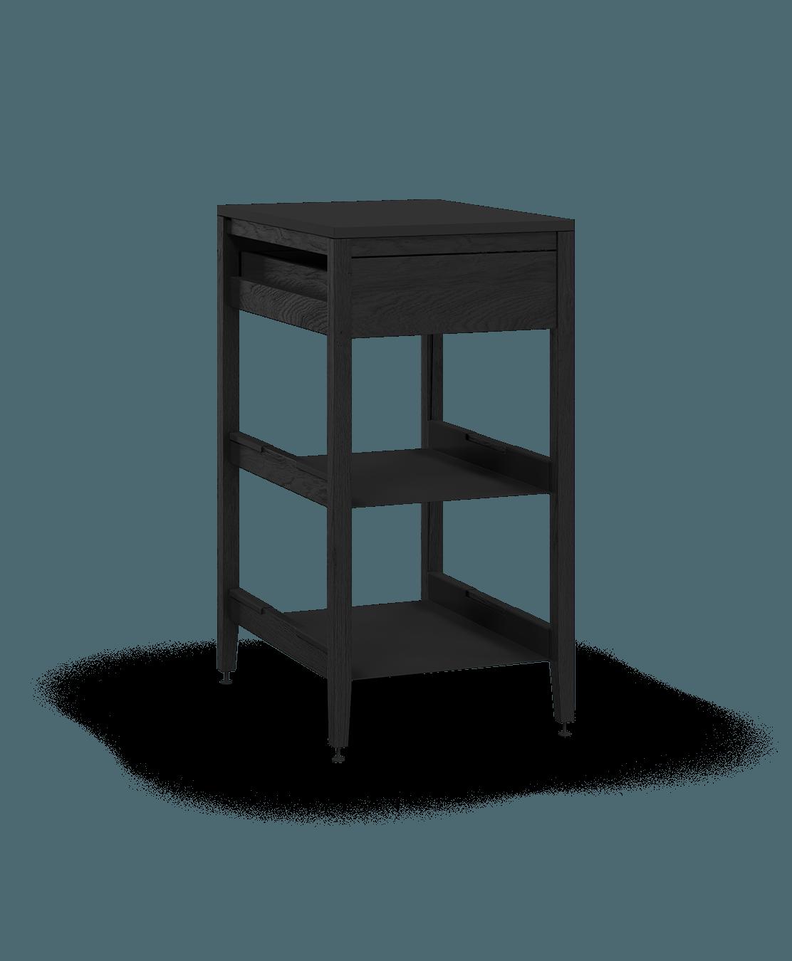 armoire de cuisine modulaire inférieure en bois massif coquo radix avec 2 tablettes 1 tiroir chêne teint noir nuit profonde 18 pouces C1-C-18SB-1022-BK