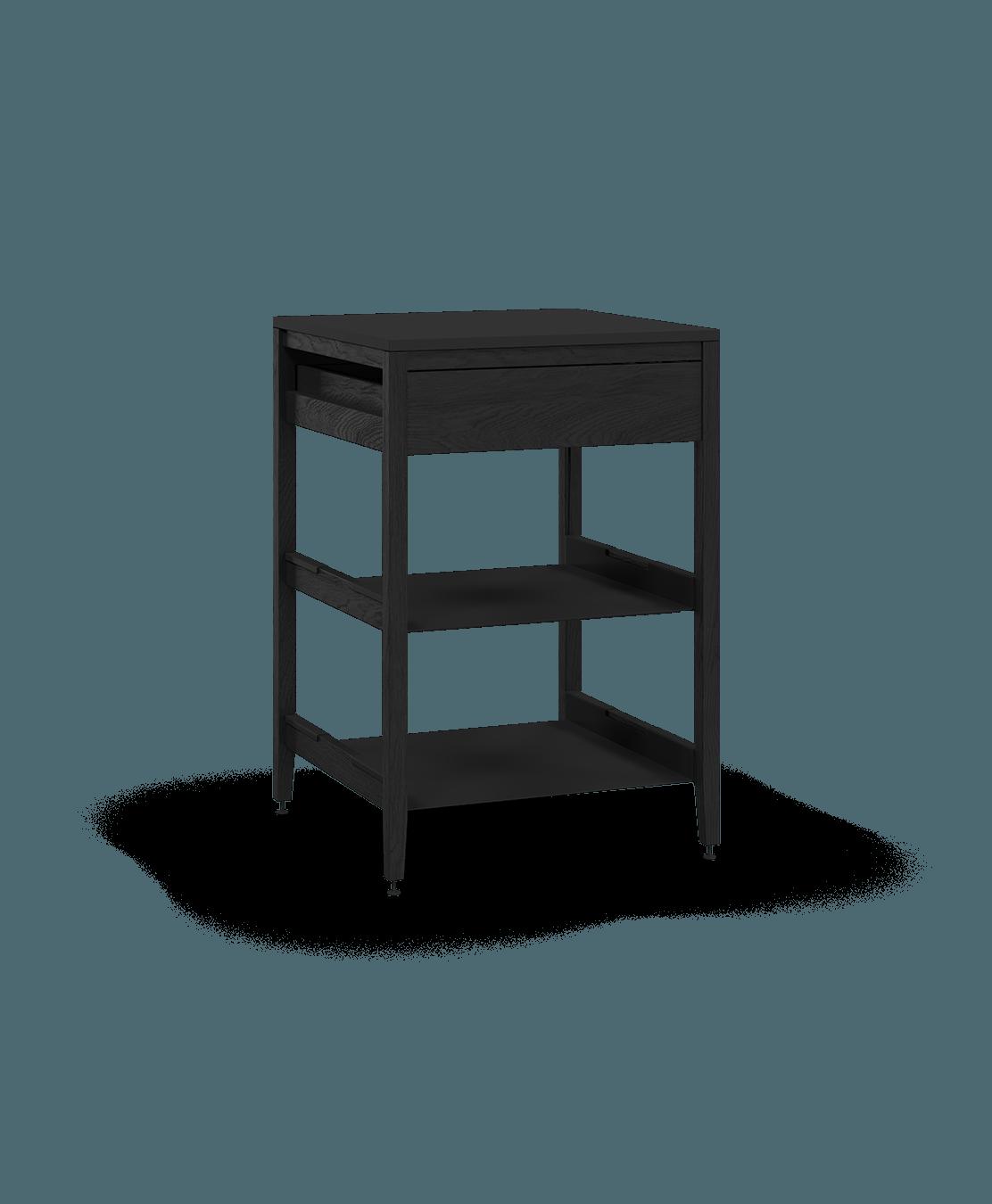 armoire de cuisine modulaire inférieure en bois massif coquo radix avec 2 tablettes 1 tiroir chêne teint noir nuit profonde 27 pouces C1-C-27SB-1022-BK