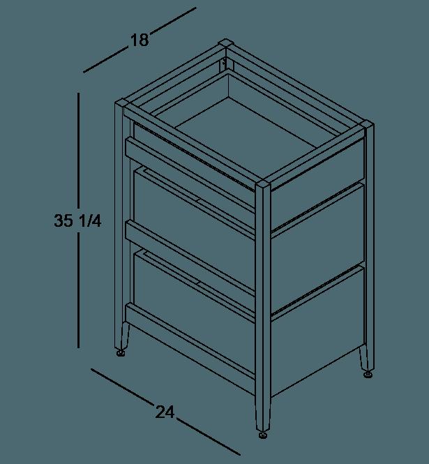 armoire de cuisine modulaire inférieure en bois massif coquo radix avec 3 tiroirs chêne blanc 18 pouces C1-C-18TB-3001-NA