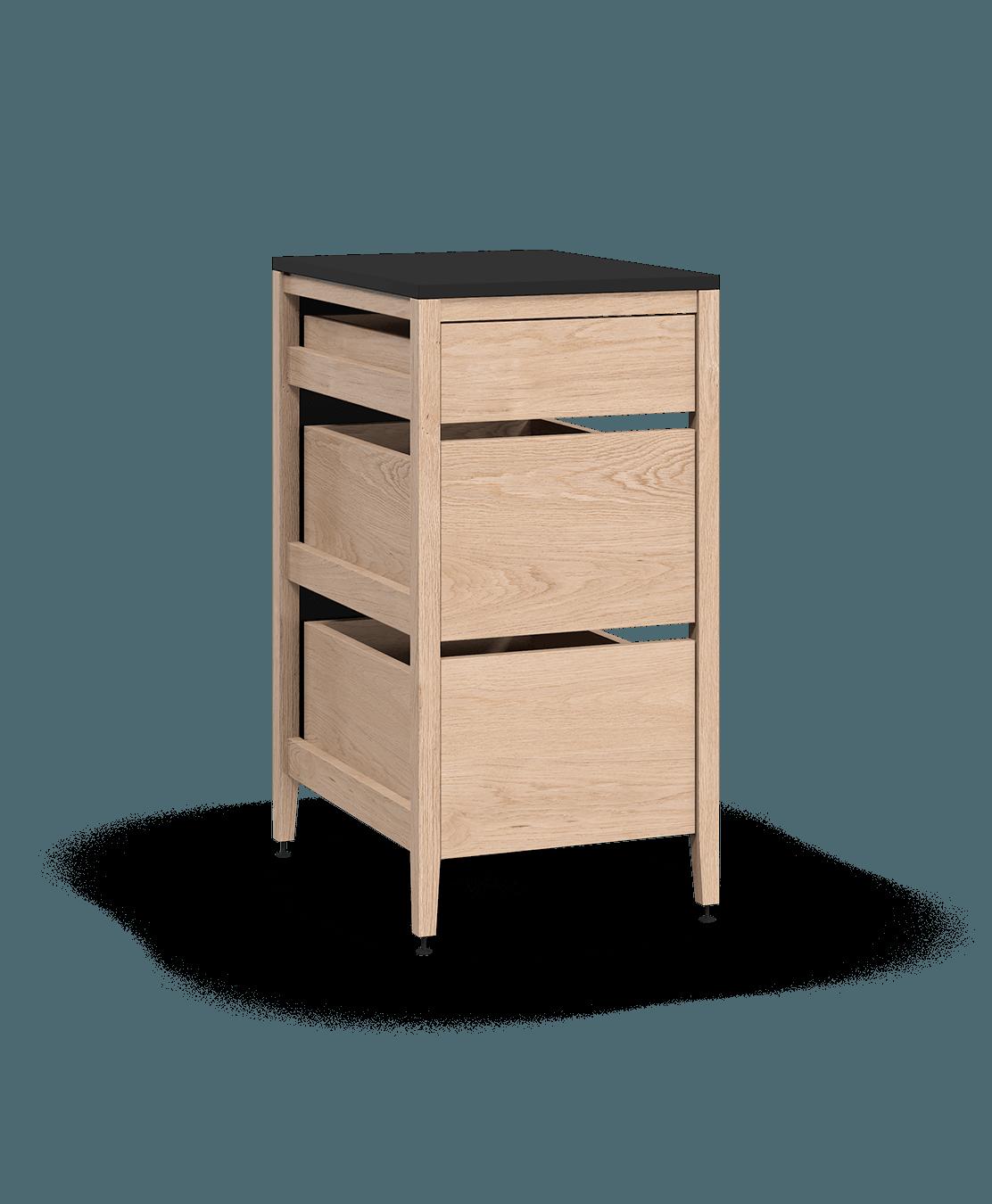 armoire de cuisine modulaire inférieure en bois massif coquo radix avec 3 tiroirs chêne blanc 18 pouces C1-C-18TB-3002-NA