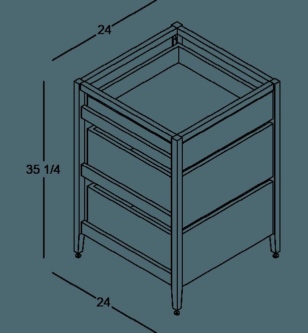 armoire de cuisine modulaire inférieure en bois massif coquo radix avec 3 tiroirs chêne blanc 24 pouces C1-C-24TB-3002-NA