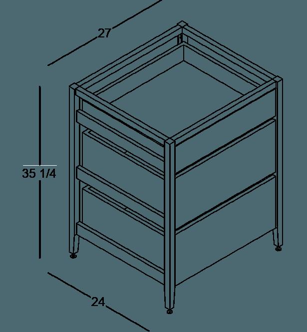 armoire de cuisine modulaire inférieure en bois massif coquo radix avec 3 tiroirs chêne blanc 27 pouces C1-C-27TB-3001-NA