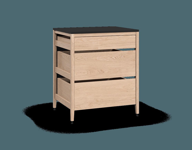 armoire de cuisine modulaire inférieure en bois massif coquo radix avec 3 tiroirs chêne blanc 30 pouces C1-C-30TB-3002-NA