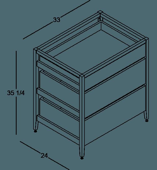 armoire de cuisine modulaire inférieure en bois massif coquo radix avec 3 tiroirs chêne blanc 33 pouces C1-C-33TB-3003-NA