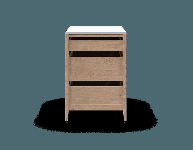 armoire de cuisine modulaire inférieure en bois massif coquo radix avec 3 tiroirs chêne blanc 36 pouces C1-C-36TB-3001-NA