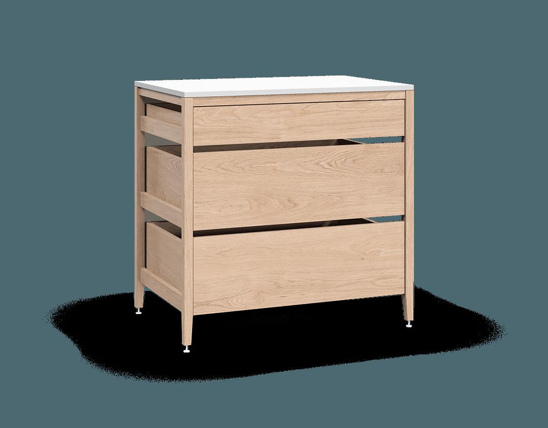 armoire de cuisine modulaire inférieure en bois massif coquo radix avec 3 tiroirs chêne blanc 36 pouces C1-C-36TB-3003-NA