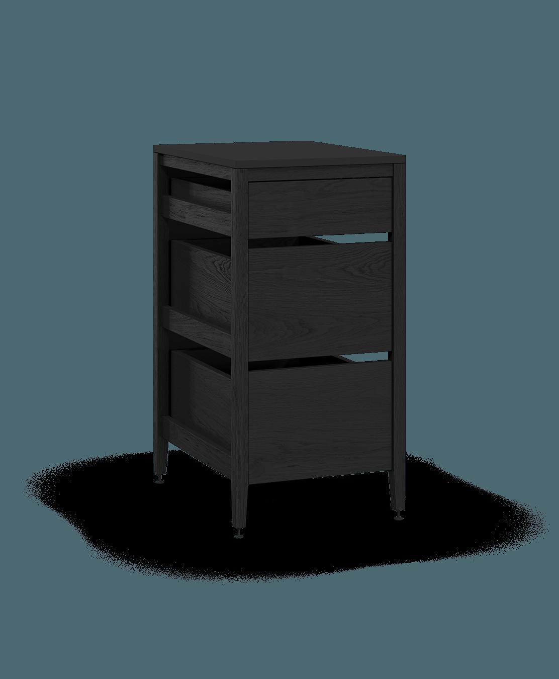 armoire de cuisine modulaire inférieure en bois massif coquo radix avec 3 tiroirs chêne teint noir nuit profonde 18 pouces C1-C-18TB-3002-BK