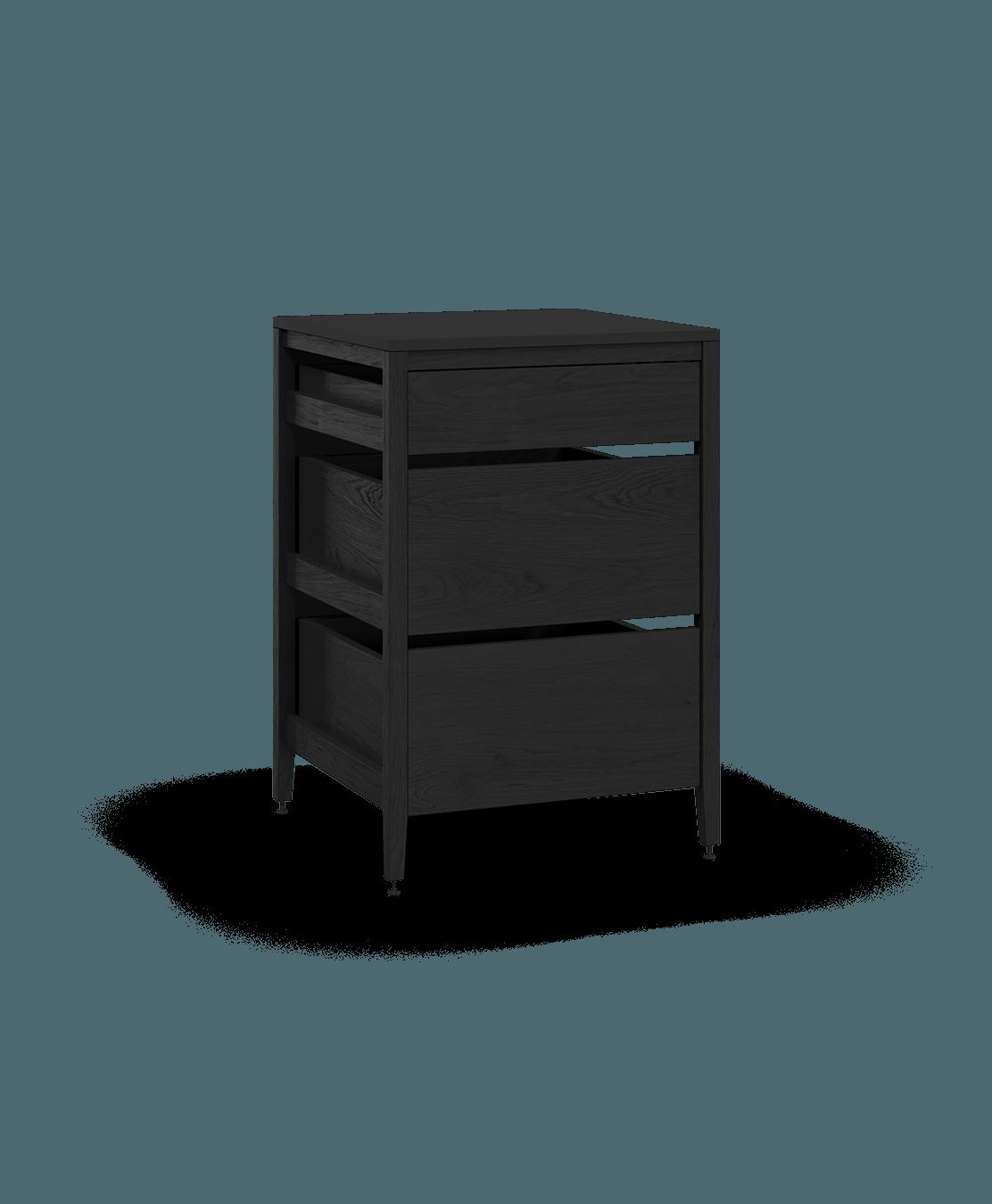 armoire de cuisine modulaire inférieure en bois massif coquo radix avec 3 tiroirs chêne teint noir nuit profonde 27 pouces C1-C-27TB-3002-BK