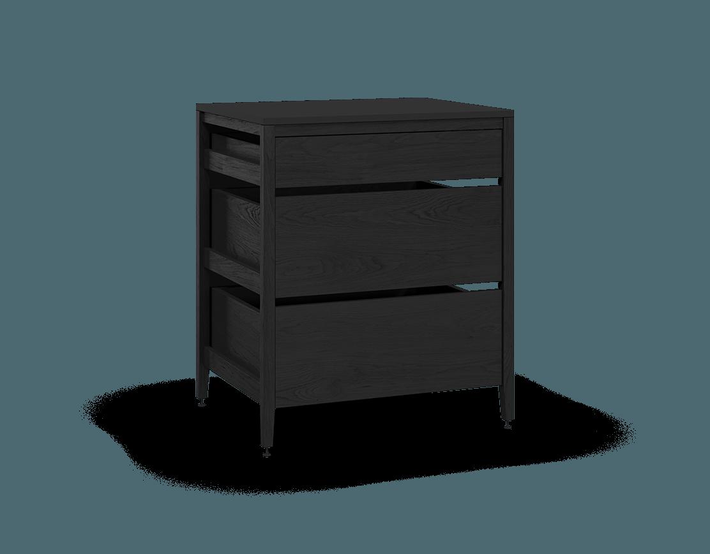 armoire de cuisine modulaire inférieure en bois massif coquo radix avec 3 tiroirs chêne teint noir nuit profonde 33 pouces C1-C-33TB-3002-BK