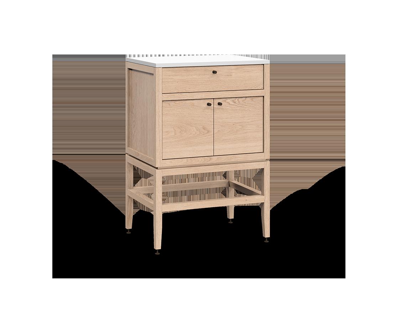 armoire inférieure modulaire de rangement en bois massif coquo volitare avec 1 tiroir 2 portes chêne blanc 24 pouces C2-C-2418-1201-NA