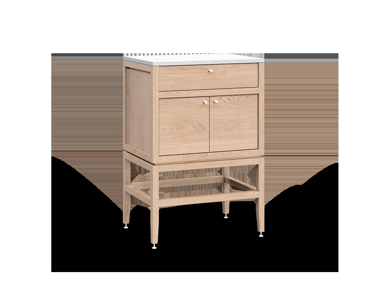 armoire inférieure modulaire de rangement en bois massif coquo volitare avec 1 tiroir 2 portes chêne blanc 24 pouces C2-C-2418-1203-NA