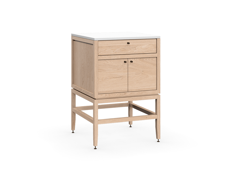 armoire inférieure modulaire de rangement en bois massif coquo volitare avec 1 tiroir 2 portes chêne blanc 24 pouces C2-C-2424-1201-NA