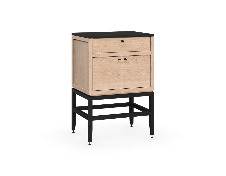 armoire inférieure modulaire de rangement en bois massif coquo volitare avec 1 tiroir 2 portes chêne blanc teint noir nuit profonde 24 pouces C2-C-2418-1202-NA-BK