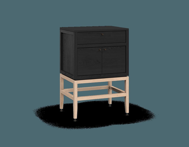 armoire inférieure modulaire de rangement en bois massif coquo volitare avec 1 tiroir 2 portes chêne teint noir nuit profonde chêne blanc 24 pouces C2-C-2418-1201-BK-NA