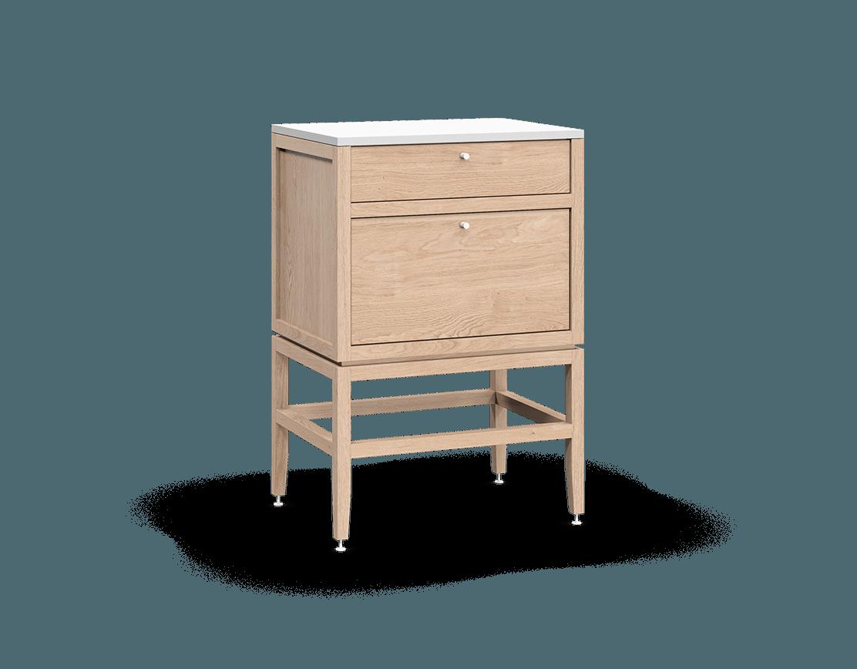 armoire inférieure modulaire de rangement en bois massif coquo volitare avec 2 tiroirs chêne blanc 24 pouces C2-C-2418-2003-NA