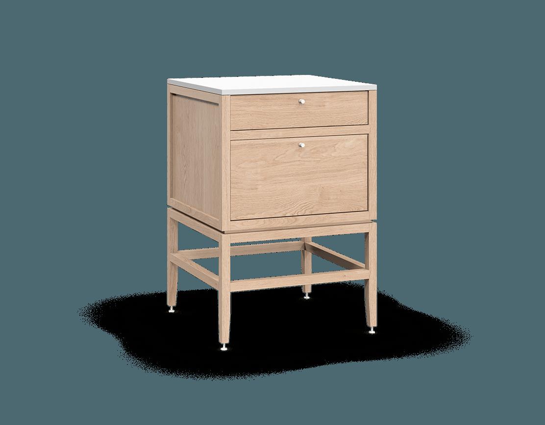 armoire inférieure modulaire de rangement en bois massif coquo volitare avec 2 tiroirs chêne blanc 24 pouces C2-C-2424-2003-NA