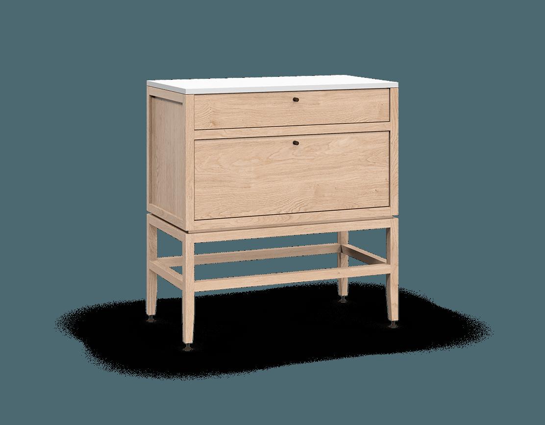 armoire inférieure modulaire de rangement en bois massif coquo volitare avec 2 tiroirs chêne blanc 33 pouces C2-C-3318-2001-NA
