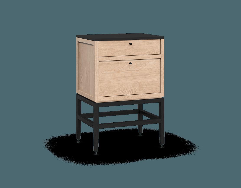 armoire inférieure modulaire de rangement en bois massif coquo volitare avec 2 tiroirs chêne blanc teint noir nuit profonde 24 pouces C2-C-2418-2002-NA-BK