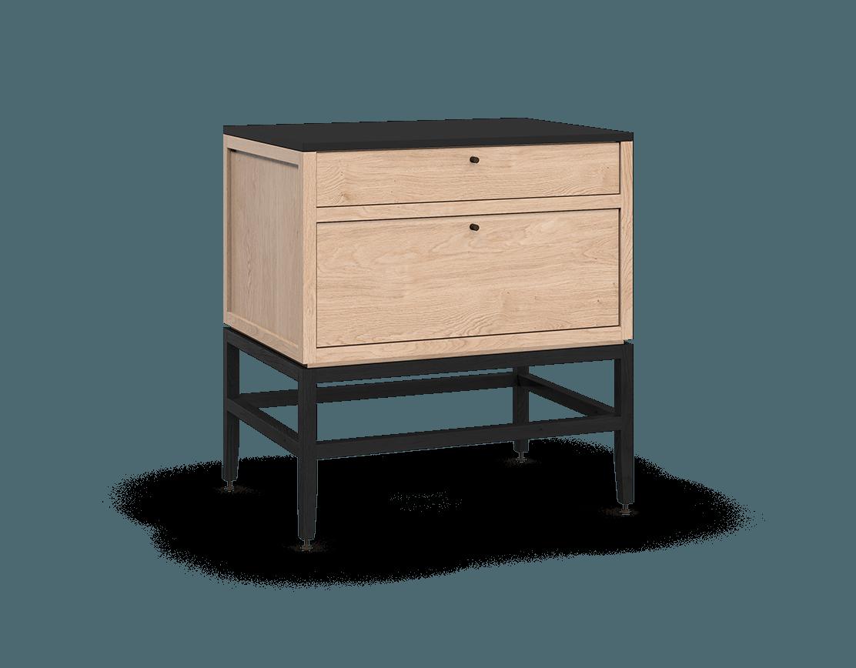 armoire inférieure modulaire de rangement en bois massif coquo volitare avec 2 tiroirs chêne blanc teint noir nuit profonde 33 pouces C2-C-3324-2001-NA-BK