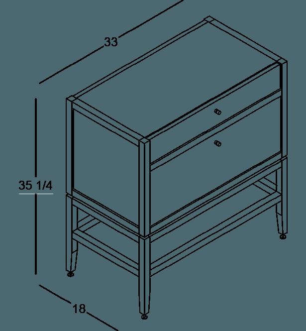 armoire inférieure modulaire de rangement en bois massif coquo volitare avec 2 tiroirs chêne teint noir nuit profonde 33 pouces C2-C-3318-2001-BK