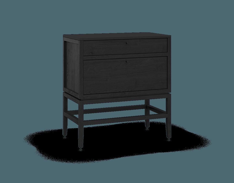 armoire inférieure modulaire de rangement en bois massif coquo volitare avec 2 tiroirs chêne teint noir nuit profonde 33 pouces C2-C-3318-2002-BK