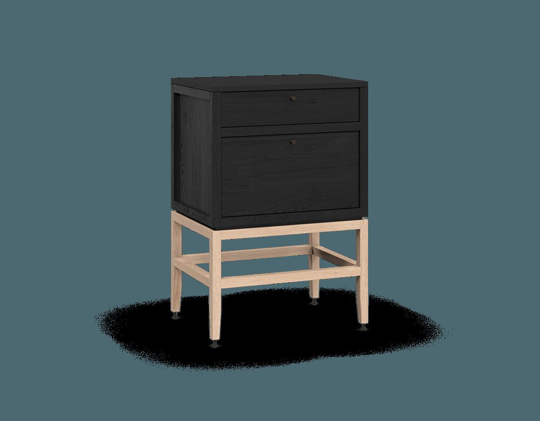 armoire inférieure modulaire de rangement en bois massif coquo volitare avec 2 tiroirs chêne teint noir nuit profonde chêne blanc 24 pouces C2-C-2418-2001-BK-NA