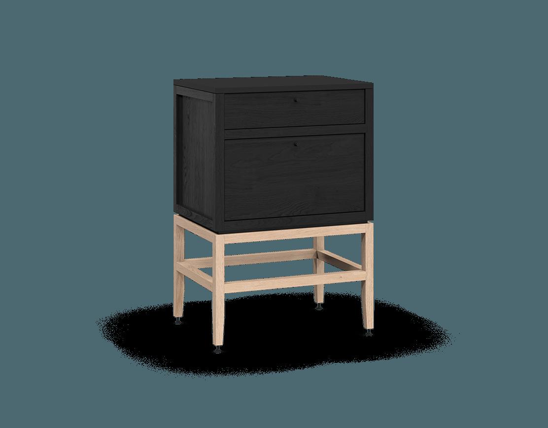 armoire inférieure modulaire de rangement en bois massif coquo volitare avec 2 tiroirs chêne teint noir nuit profonde chêne blanc 24 pouces C2-C-2418-2002-BK-NA