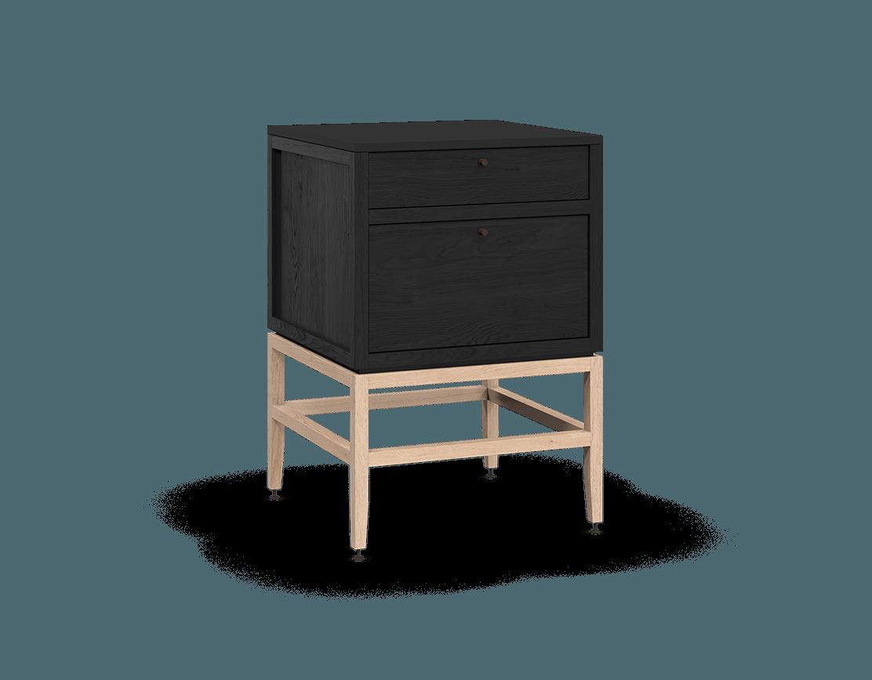 armoire inférieure modulaire de rangement en bois massif coquo volitare avec 2 tiroirs chêne teint noir nuit profonde chêne blanc 24 pouces C2-C-2424-2001-BK-NA