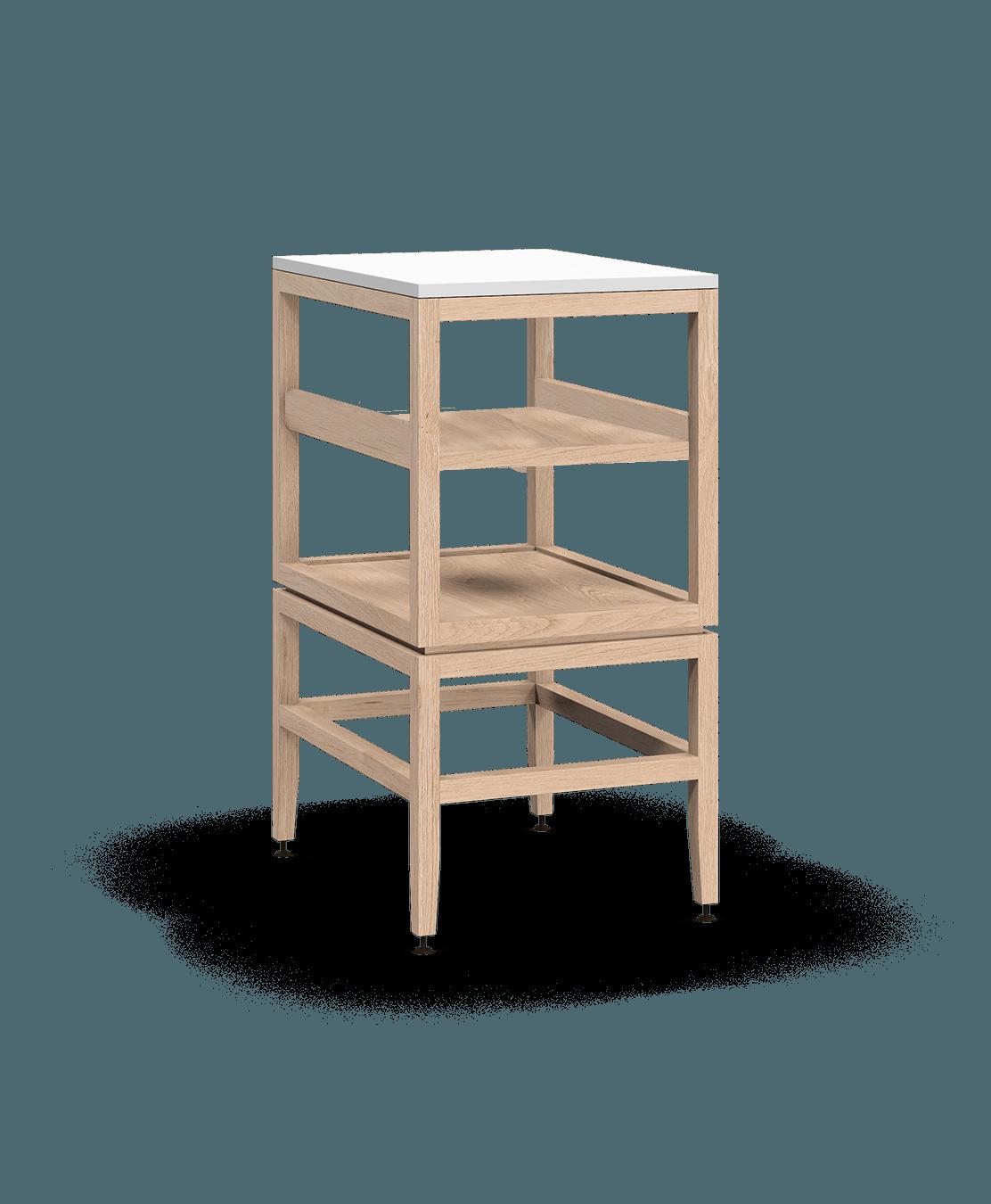 armoire ouverte modulaire de rangement en bois massif coquo volitare avec cube 1 tablette chêne blanc 18 pouces C2-N-1824-001W2-NA