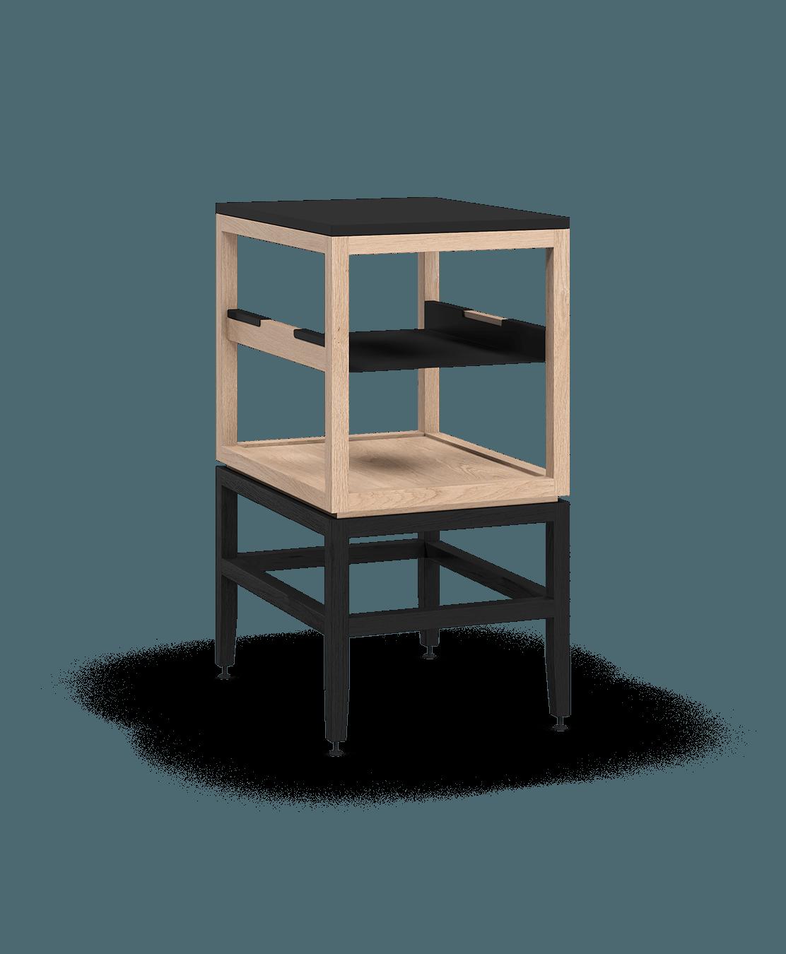 armoire ouverte modulaire de rangement en bois massif coquo volitare avec cube 1 tablette chêne blanc teint noir nuit profonde 18 pouces C2-N-1824-0012-NA-BK
